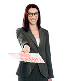 Smiling woman with playing cards. Smiling womans with playing card wearing spectacles Stock Photo