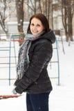 Smiling woman pleasure to snow Stock Photos
