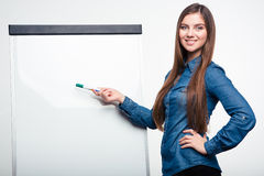 Smiling woman pointing on blank board. Portrait of a smiling young woman pointing on blank board isolated on a white background Stock Image