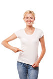Smiling woman pointing at blank white t-shirt Stock Photos