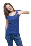 Smiling woman pointing at herself Stock Images