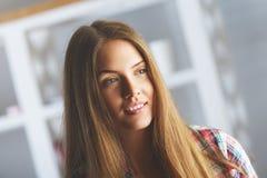 Smiling woman portrait stock photo