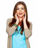 Smiling woman portrait isolated on white background. Royalty Free Stock Photography