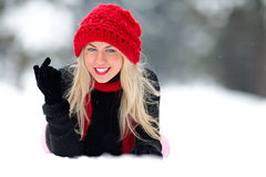Smiling woman portrait outdoor in winter Royalty Free Stock Images