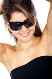 Smiling woman portrait - sunglasses Stock Photos