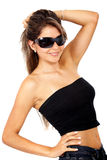 Smiling woman portrait - sunglasses Royalty Free Stock Images