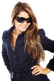 Smiling woman portrait - sunglasses Stock Photo