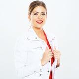 Smiling woman portrait  on white background Royalty Free Stock Photo