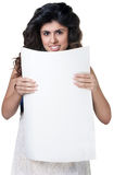 Smiling Woman with Poster Royalty Free Stock Photo