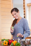 Smiling woman preparing vegetable stew in the kitchen Stock Image