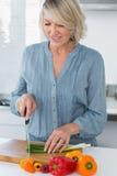 Smiling woman preparing vegetables Stock Images