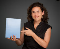 Smiling Woman presenting a  blank box Stock Photo