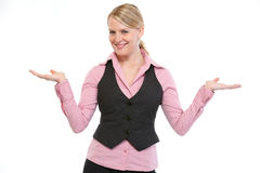 Smiling woman presenting something on empty hands Royalty Free Stock Photography