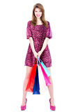 Smiling woman with purchasing. Stock Photography