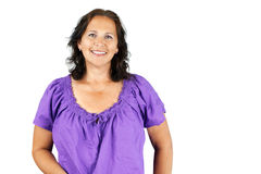Smiling woman in purple Royalty Free Stock Image