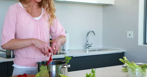 Smiling woman putting vegetables into a saucepan Stock Photography