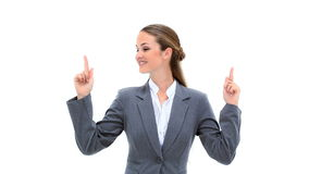 Smiling woman raising her fingers stock footage