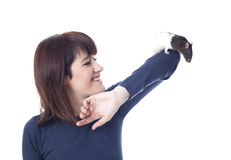 Smiling woman with rat Royalty Free Stock Photos