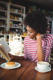 Smiling woman reading a book in cafe Stock Images