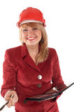Smiling woman in red Stock Photo