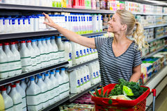 Smiling woman with red basket buying milk Stock Images