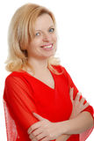 Smiling woman in a red blouse Royalty Free Stock Photography
