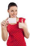 Smiling woman in red dress Royalty Free Stock Photography