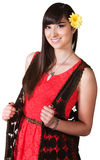 Smiling Woman in Red Dress Stock Photos