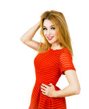 Smiling Woman in Red Dress Isolated on White Stock Photos