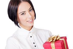 Smiling woman with the red gift box Stock Images