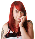 Smiling Woman with Red Hair Royalty Free Stock Images