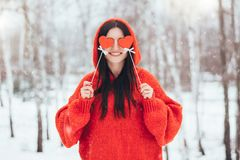 Smiling woman with red harts for valentines day royalty free stock images