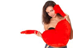 Smiling woman with red heart Stock Photo