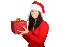 Smiling Woman in Red Long Sleeve Shirt Holding Red Gift Box Royalty Free Stock Photo