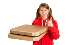 Smiling woman in red uniform delivering pizza in boxes Stock Photos