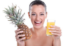 Smiling woman with refreshment juice Royalty Free Stock Photos