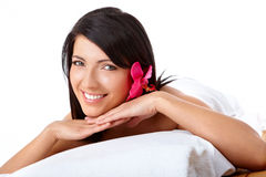 Smiling Woman Relaxing Spa Royalty Free Stock Images