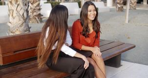 Smiling woman relaxing on a wooden urban bench. Two attractive stylish smiling young woman relaxing on a wooden bench in an urban park looking at the camera with stock video footage