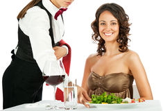 Smiling woman restaurant Royalty Free Stock Photo