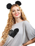 Smiling woman with a ridiculous hairdress Stock Image