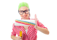 Smiling woman with roller ready for renovating Stock Photos