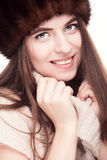 Smiling woman in russian type hat Royalty Free Stock Photos