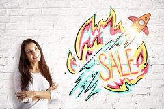 Smiling woman with sale sketch royalty free stock image
