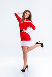 Smiling woman in santa claus cloth Royalty Free Stock Photos