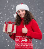 Smiling woman in santa  hat Royalty Free Stock Photos