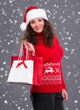 Smiling woman in santa hat with shopping bags Stock Photography