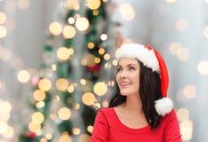 Smiling woman in santa helper hat Royalty Free Stock Image