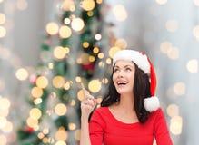 Smiling woman in santa helper hat Royalty Free Stock Photo