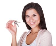 Smiling woman with a set of keys Stock Photos