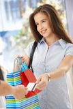 Smiling woman after shopping Royalty Free Stock Photography